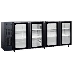 """Arrière bar réfrigéré 4 portes vitrées battantes """"larges"""""""